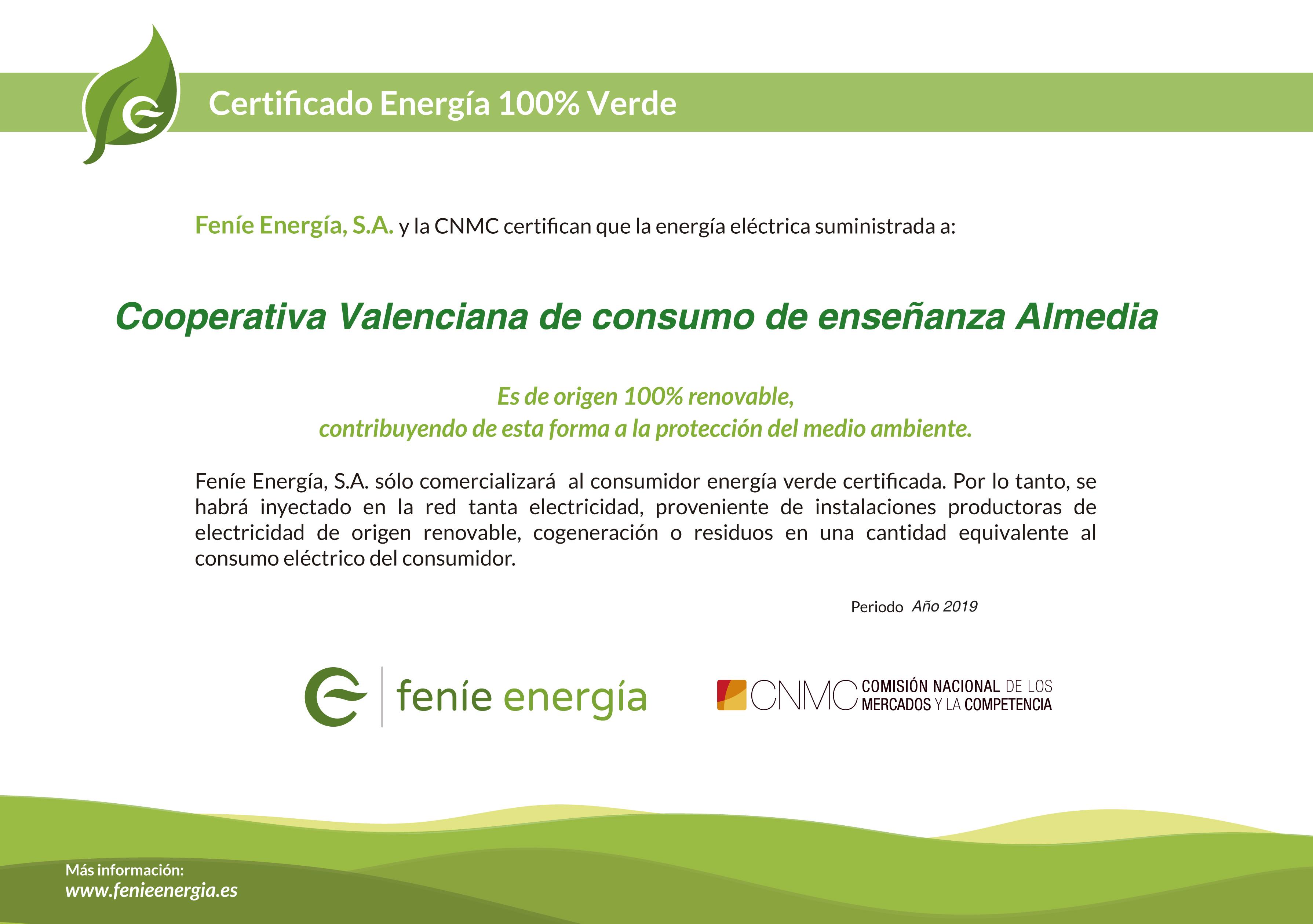 Certificado Energia Limpia